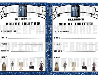 DIY Dr. Who Party Invitation - TARDIS- INSTANT download, digital file, printable, print at home, birthday party, retirement party, wedding