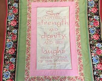 Proverbs 31 25, Proverbs Quilt, Proverbs Throw, Religious Gift, Religious Quilt, Bible Verse, Bible Verse Print