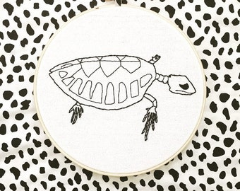 Hawksbill Sea Turtle hand embroidery- endangered collection- 8 inch hoop