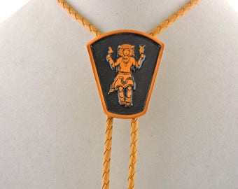 """34"""" Solid Copper And Tan Leather Kachina Slide Bolo Tie"""
