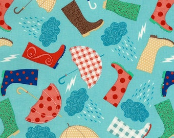 Rainboots and Umbrellas Fabric; 1/3 Yard, 1/2 Yard, or By The Yard; C5718 Timeless Treasures; Novelty Fabric; Quilting Fabric