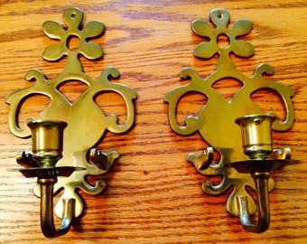 Vintage Brass Wall Sconces, Pair of Brass Candleholders