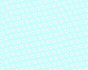 Flannel fabric by the yard - Blue Daisies