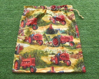 Boys tractors bag, large library bag or toy bag, farm equipment cotton drawstring bag