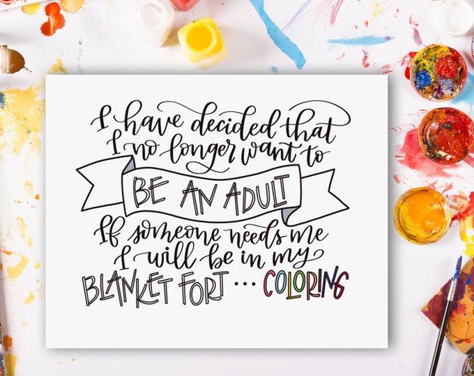 Not Adulting! Original Handwritten Art Available as a Digital Download