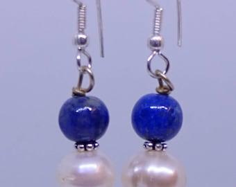 Pearls, lapis, sterling silver earrings.