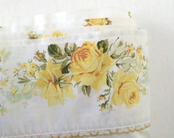 Vintage Full Size Double Flat Sheet Springmaid Sheet Yellow Roses Bedding Retro Bedding