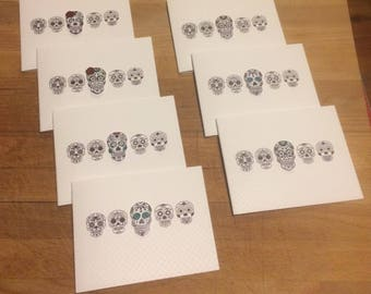 Sugar Skull Blank Card Set