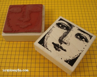 Large Pauline Face Stamp / Invoke Arts Collage Rubber Stamps