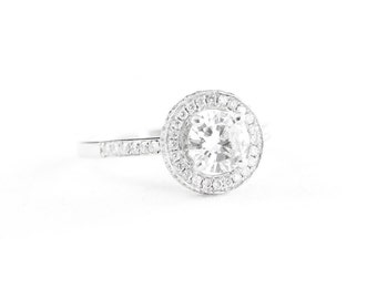 Diamond halo engagement ring in 18 carat white gold handmade for her