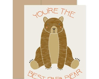 Bear Fathers Day Card, Best Papa Bear Card, Card For Dad from Kids, Stepdad Card, Awesome Father's Day, Best Dad Bear Card