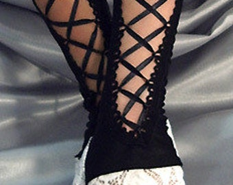 X Long black lace up fingerless gloves with white lace cuffs satin ribbon French Maid