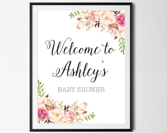 Baby Shower Welcome Sign, Boho, Floral, Baby Shower Sign, Watercolor, Floral