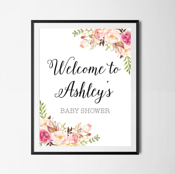 Baby Shower Welcome Sign Boho Floral Baby Shower Sign