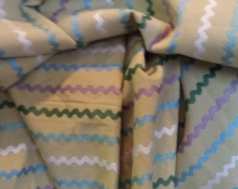 CHARTREUSE Cotton Canvas RICK RACK Stripes Aqua Purple Green Upholstery Fabric, 28-57-09-046