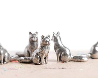 Fox, Red Fox, Fox Figurine, Fox Stuff, Sitting Fox, Valentine's Day, Fox Sake, Solid Metal, Woodland, Foxes, Metal Figurine, Animal Totems