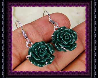Carved Green Onyx Rose Earrings