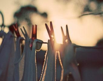 Australian Hills Hoist WASHING LINE at Sunset Photo, Pegs on Washing Line Photo, Sunset Photo, Hills Hoist Photo, Washing Hanging With Pegs
