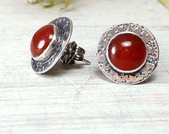 Red Agate Studs Red Post Earrings Sterling Silver Posts Red Agate Posts Red Post Earrings Gemstone Earrings Silversmith Red Stud Earrings