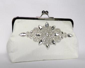 Rhinestone Bridal Clutch, Ivory Bridal Clutch, Ivory Silk Clutch, Brides Clutch, Clutch Purse, Ivory Wedding Clutch