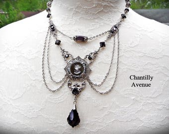 Black Cameo Necklace, Jet Vintage Style Gothic Mourning Jewelry Handmade, Victorian Intaglio Necklace - Made to Order