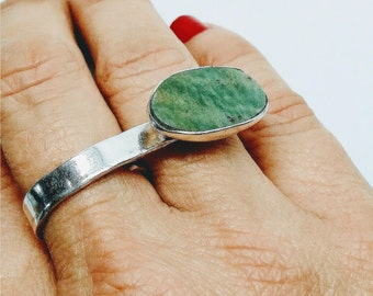 Silver ring with Amazonite