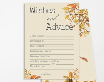 Wishes for Bridal Shower Printable | INSTANT DOWNLOAD | Fall Colors Bridal Shower Game | Bridal Shower Decoration | Wedding Advice Card