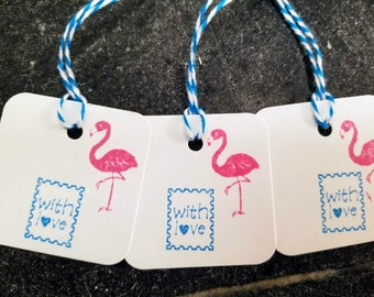 "Flamingo ""With Love"" postage stamp tags, set of 12 Hand Stamped Gift Tags, summer, turquoise, aqua, beach, lilly, pool, wine, party, grad"