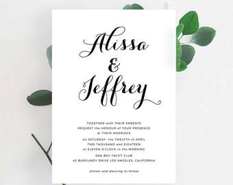Printable Wedding Invitation Template | Editable Wedding Invitation| Wedding Invitation| Calligrapher Script|Formal Script | Word | Pages