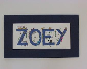 "Whimsical ""I Spy"" kid's names. Navy blue ""Zoey."" 16.5""x9.5"""