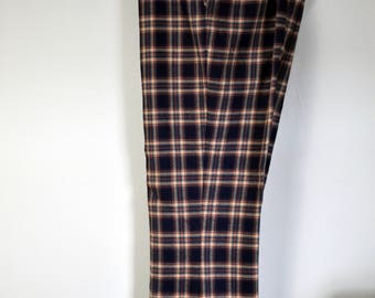 Vintage JAYMAR 1970s Navy Blue/Tan/Red Wool Trousers Size 40x32