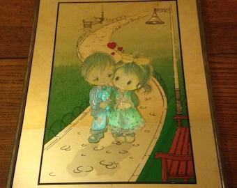 Mirror old child nursery Vintage color drawing