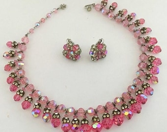 Vendome 1950's Pink Borealis Crystal & Rhinestone Demi Parure Set