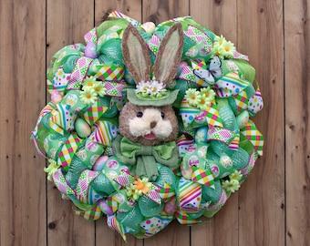Green Bonnet Bunny Wreath