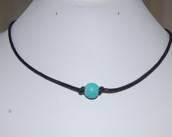 Turquoise Necklace,Turquoise Gemstone Leather Chocker Necklace, Choker Necklace, Girl, Woman, Leather Cord Necklace,Lobster Lock End Cord