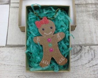 Gingerbread man lady necklace