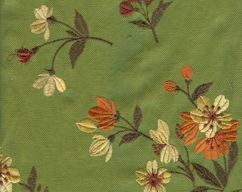 Green Garden Embroidered Fabric - 1 Yard