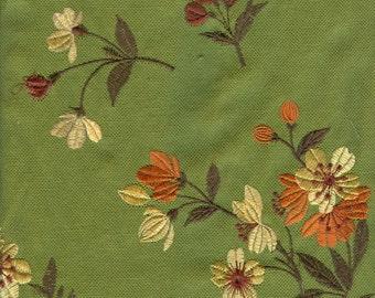 Green Garden Embroidered Fabric - 1 Yard