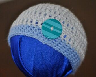 Newborn Baby Beanie ~ Infant Photo Prop Hat ~ Baby Blue ~ Button Hat ~ Newborn Baby Gift