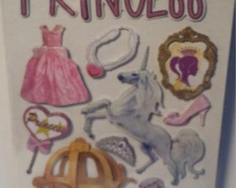 3 D Princess  Scrapbooking Stickers 22 Stickers Total, Craft Stickers, Princess stickers