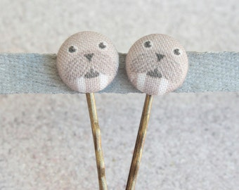 Walrus Fabric Covered Button Bobby Pin Pair