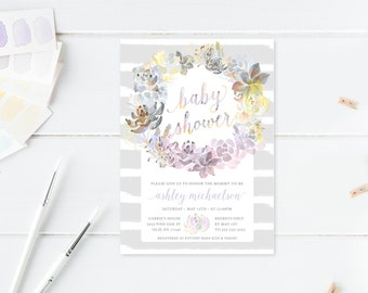Baby Shower Invitation, Floral Baby Shower Invite, Vintage Baby Shower Invite, Printable Invitations, Boho Baby Shower Invitation, [426]