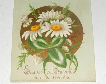 Antique Small Easter Tide Happiness be with You Card Daisy Flower