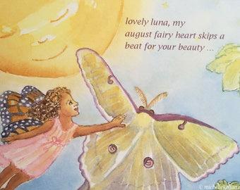 August Fairy and Luna Moth Postcard, by Michelle Kogan, Postcards, Watercolor, Art & Collectables, Children's Art, Illustration, Haiku