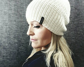 CASHMERE Beanie - CREAM - white - The PERFECT Slouch - Hand Knit Cashmere Merino - Luxurious Soft