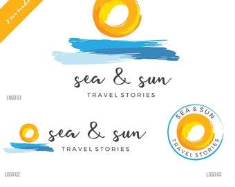 Travel logo, Sun logo, sea logo, Business logo design, Photography Logo and Watermark, beach logo, Blog logo design Premade branding  155