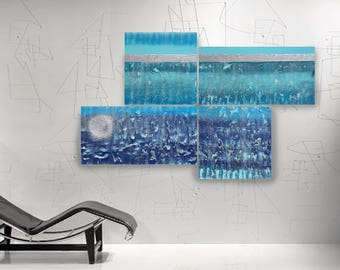 Abstract paintings silver blue 105x165x4 cm OOAK XXL OFFICE decor a74 original abstract art big ready to hang painting by artist Ksavera