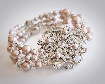 Vintage Style Bridal Bracelet, Swarovski Pearl Wedding Bracelet, Crystal Rhinestone Bridal Bracelet Cuff, Art Deco Statement Jewelry, RYLIE