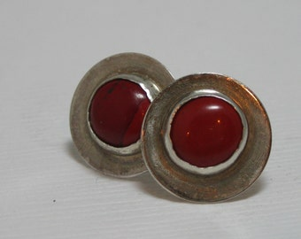 Coral and Sterling Silver Post Earrings, Handmade Artisan Coral and Sterling Studs, Handmade Jewelry