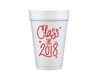 Graduation Foam Cups - RED INK (in-stock!)